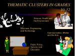 thematic clusters in grades 10 12