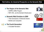 talk outline an industrial perspective on the semantic web39