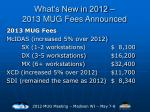 what s new in 2012 2013 mug fees announced