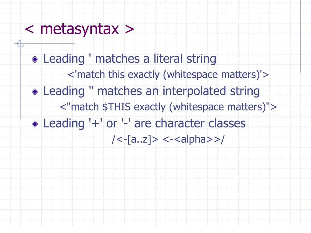 < metasyntax >