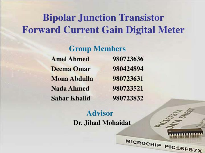 bipolar junction transistor forward current gain digital meter n.