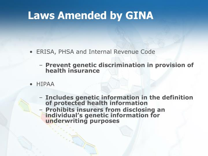Laws Amended by GINA