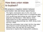 how does union relate to buyback