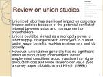 review on union studies