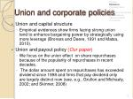 union and corporate policies