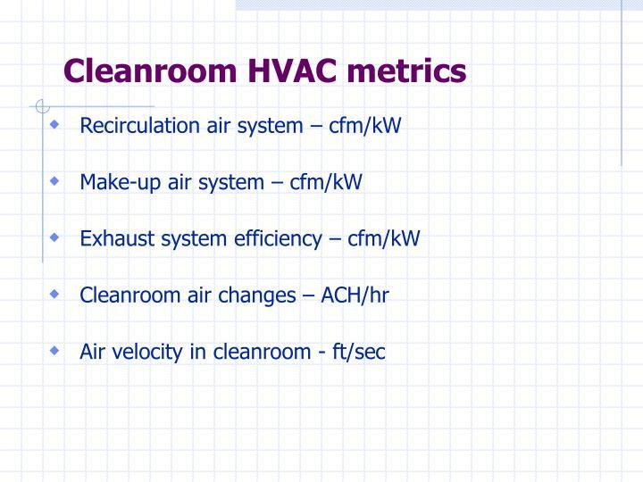 Cleanroom HVAC metrics