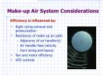make up air system considerations