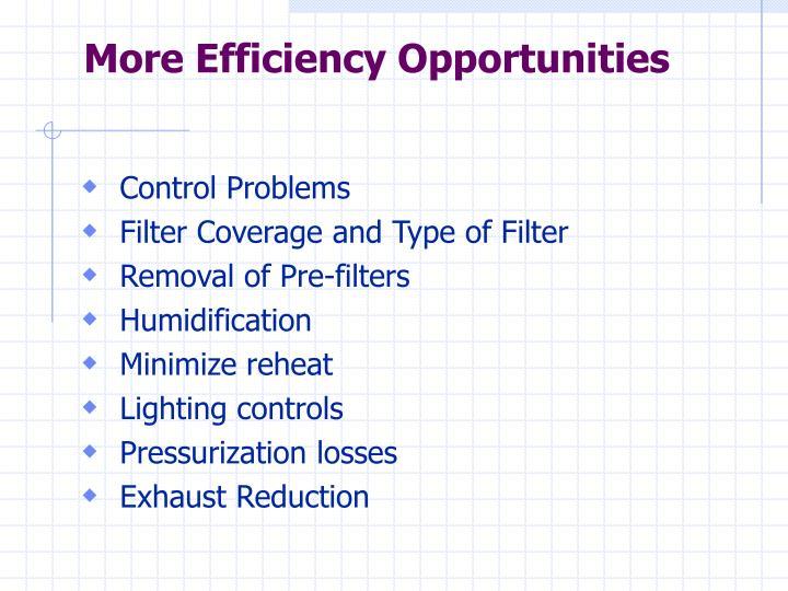 More Efficiency Opportunities