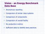 vision an energy benchmark data base