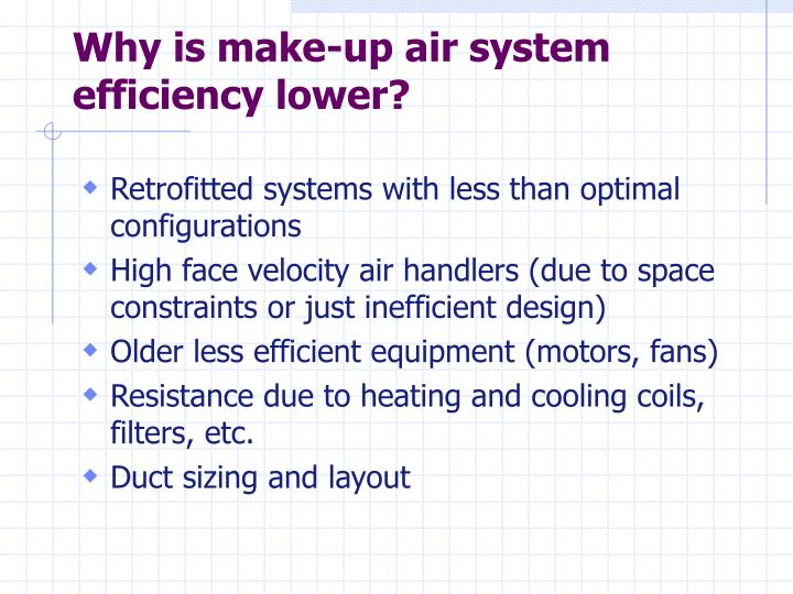 Why is make-up air system efficiency lower?