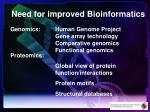 need for improved bioinformatics