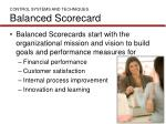 control systems and techniques balanced scorecard