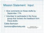 mission statement input