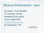 revenue enhancement input