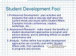 student development foci