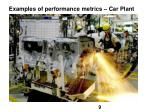 examples of performance metrics car plant