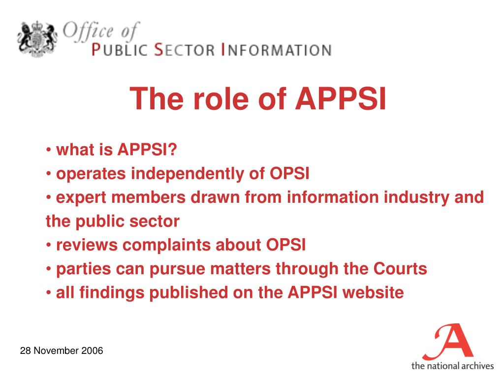 The role of APPSI