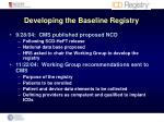 developing the baseline registry