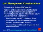 unit management considerations