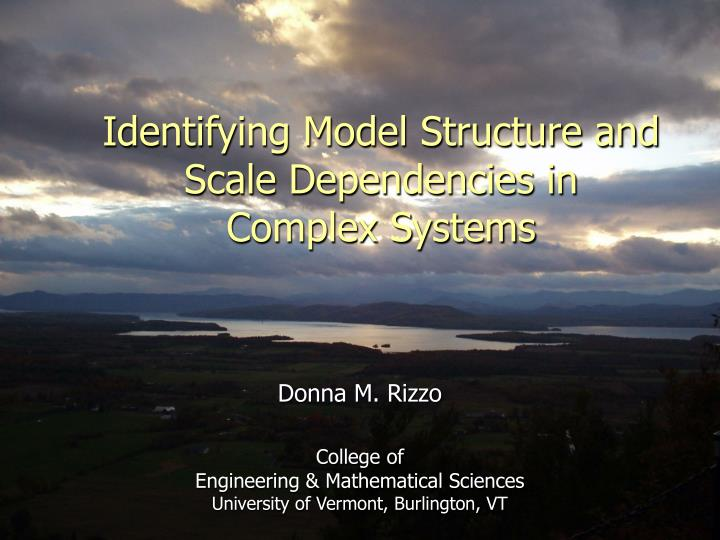 identifying model structure and scale dependencies in complex systems n.