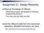 assignment 3 design recovery
