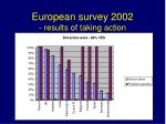 european survey 2002 results of taking action