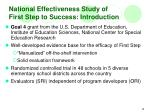 national effectiveness study of first step to success introduction