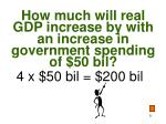how much will real gdp increase by with an increase in government spending of 50 bil