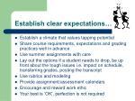 establish clear expectations