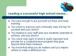leading a successful high school means