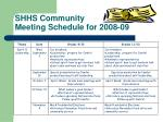 shhs community meeting schedule for 2008 09