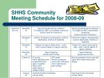 shhs community meeting schedule for 2008 091