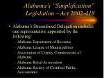 alabama s simplification legislation act 2002 4181