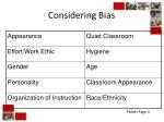 considering bias