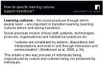 how do specific learning cultures support transitions
