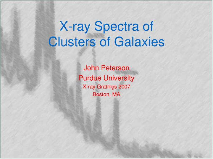 x ray spectra of clusters of galaxies n.
