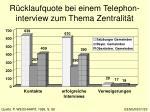 r cklaufquote bei einem telephon interview zum thema zentralit t