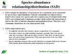 species abundance relationship distribution sad