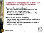 substantive interpretation of the trust game for buyer supplier relations