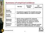 summary of empirical evidence