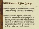 nih biohazard r isk g roups