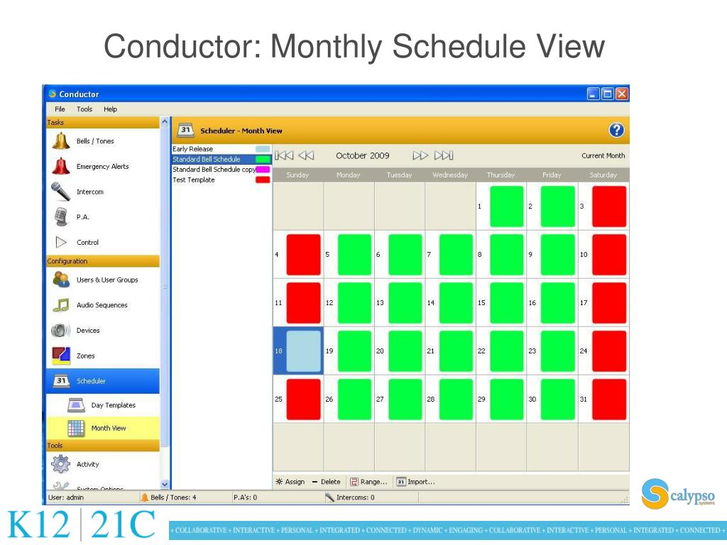 Conductor: Monthly Schedule View