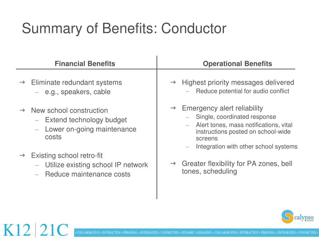 Summary of Benefits: Conductor