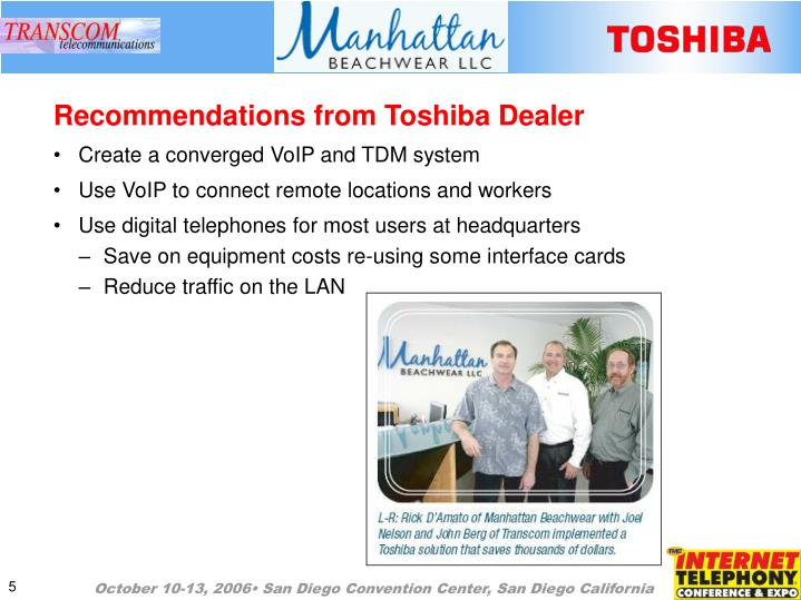 Recommendations from Toshiba Dealer