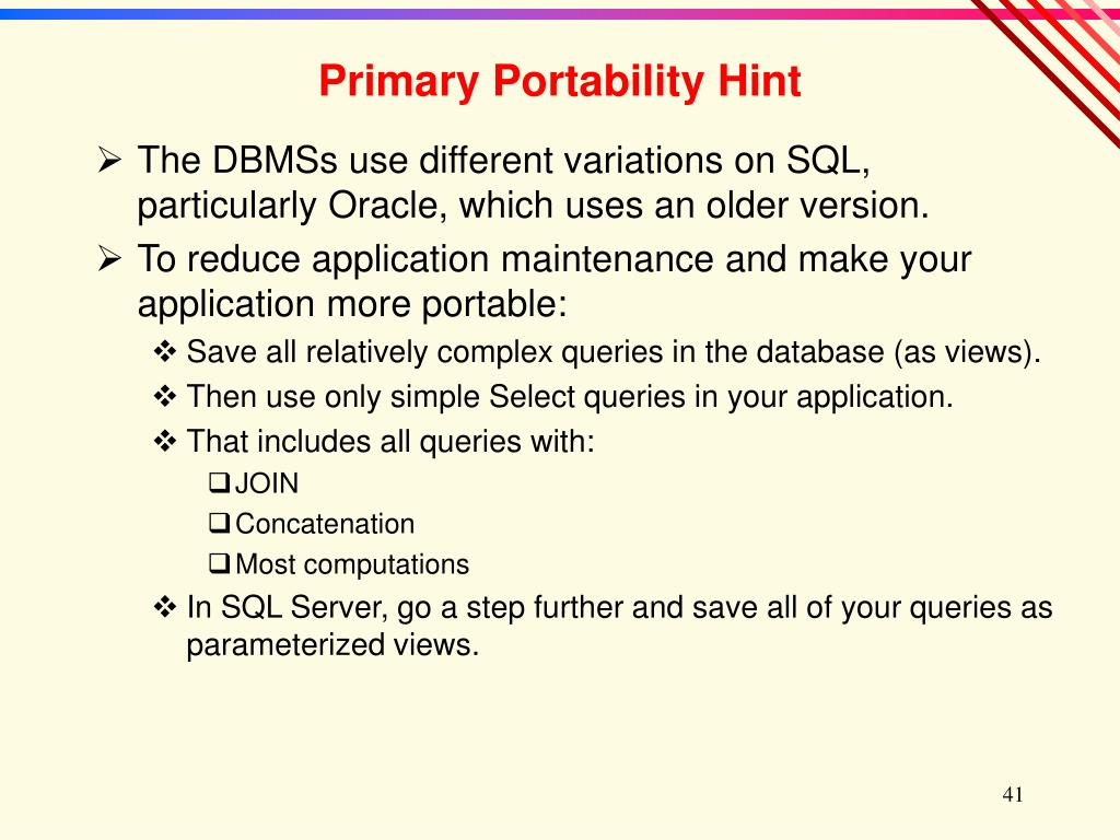 Primary Portability Hint