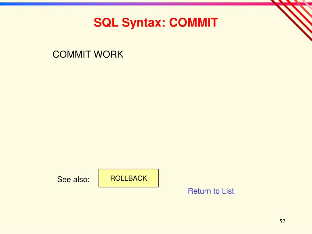SQL Syntax: COMMIT