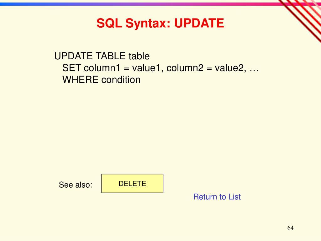 SQL Syntax: UPDATE