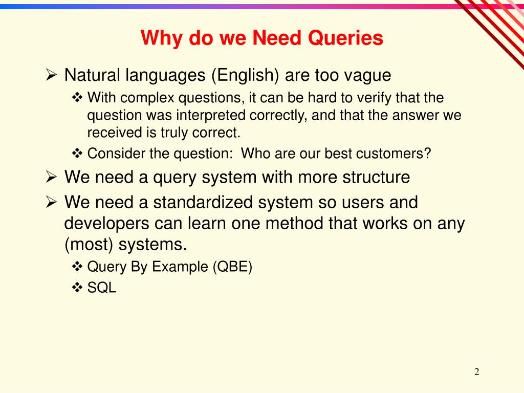 Why do we Need Queries
