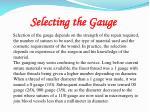 selecting the gauge
