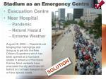 stadium as an emergency centre